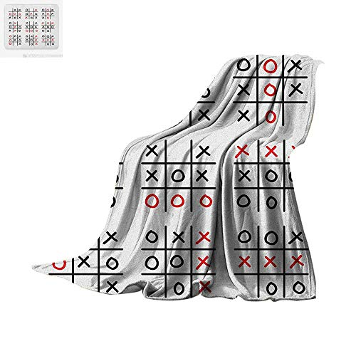 "Luoiaax Xo Warm Microfiber All Season Blanket Doodle Style Tic Tac Toe Game Set Table with X and O Letters Artistic Design Summer Quilt Comforter 50""x30"" Black White and Red"