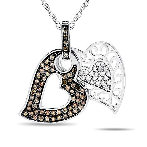 3/4 Carat, Brown And White Diamond Double Heart Pendant Necklace In .925 Sterling ()