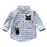 POIUDE Clearance Winter Warm Toddler Girls Boys Cartoon Cat Plaid Shirts Cardigan T-Shirts Long Sleeve Clothes(Blue, 0-12Months)