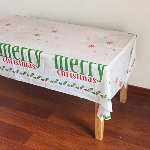 Hocai Disposable Christmas Tablecloth Plastic, 42.5 x 70.9 in Rectangle Table Cover Christmas Decoration (Set of 2 pcs) (Merry Chrismas) -
