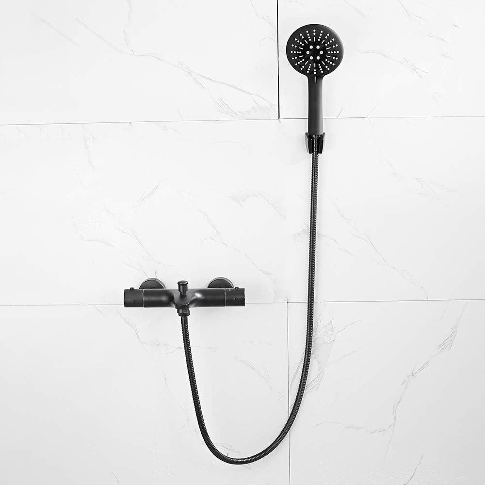 Grifo de ba/ñera con termostato y ducha de mano ODOMY G 1//2 color negro