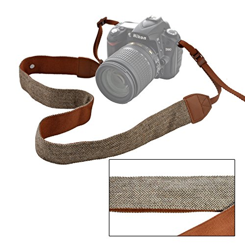 pangshi Camera Shoulder Neck Strap Vintage Belt for All DSLR Camera Nikon Canon Sony Pentax Classic Brown Weave