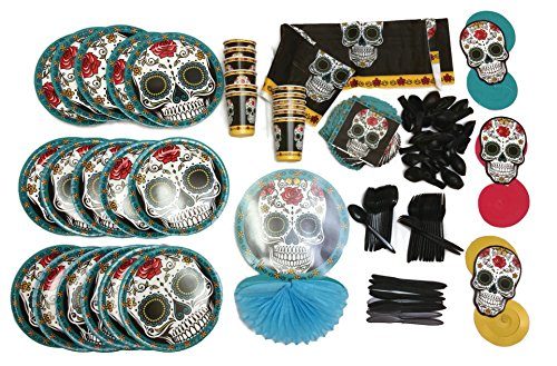 Day of the Dead Instant Party pack, dia de los muertos Supplies, Table and Hanging Decoration, Serving Plates, Cups, Napkins, 119 Pieces