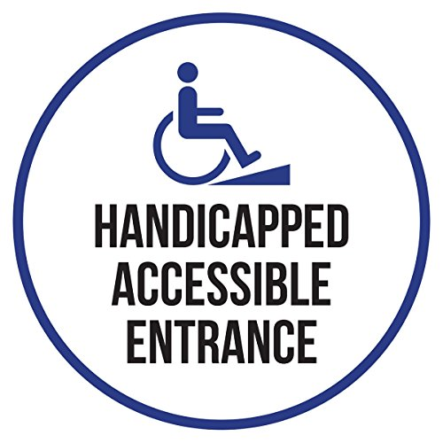 iCandy Products Inc Handicapped Accessible Entrance Disability Business Commercial Safety Warning Round Sign - 12 Inch, Metal