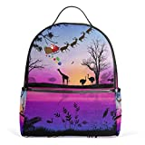 Dragon Sword Christmas Santa Claus On Africa Laptop Backpack Casual Shoulder Daypack for Student School Bag Handbag - Lightweight