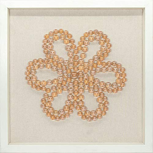 45Min 16-Inch Handmade Bead String Art Shadow Box, 3D Abstract Framed Sculpture Wall Art Decor, Contemporary, Orange Transparent, Flower