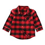 ONE'S Baby Toddler Girls Boys Plaid Shirts Long Sleeve Big Check Blouse Autumn Top (4-5 Years, Red)