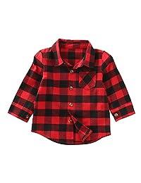 Baby Toddler Girls Boys Plaid Shirts Long Sleeve Big Check Blouse Autumn Top