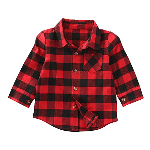 - Baby Toddler Girls Boys Plaid Shirts Long Sleeve Big Check Blouse Autumn Top (6-7 Years, Red)