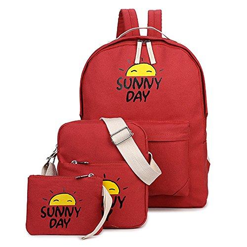 Mochila Embrague Piezas Animados Escolar Rojo Mensajero Backpack 3 De Mochilas Casual Dibujos Nieto Viaje Escolares Bolsa Minetom vqfBtwy