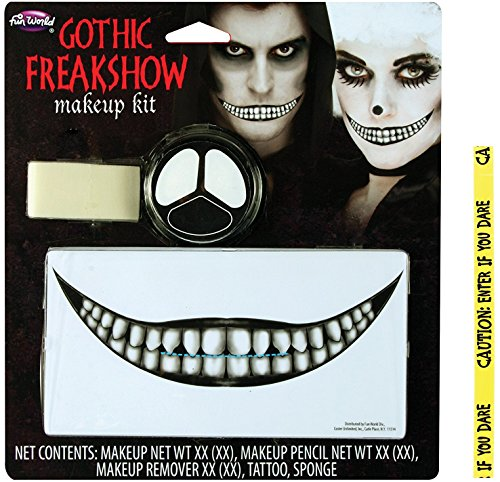 Death Gothic Costumes (Bundle: 2 Items - Gothic Fangs Makeup Kit and FREE Caution Tape Chosen at Random)