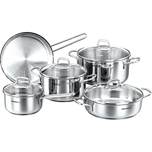 korkmaz Perla 9 Piece High-End Stainless Steel Induction-Ready Cookware Set with Tri-Ply Encapsulated Base (Best High End Cookware)