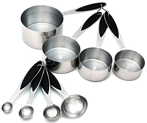 Spring Chef Measuring Cups and Spoons, Stainless Steel 8 Piece Set