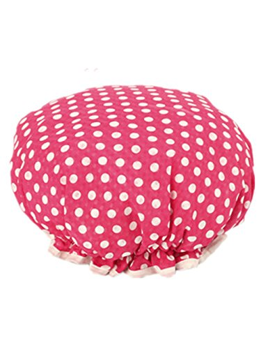 Moolecole Women Polka Dots Printed Waterproof Shower Cap Double Layer Bathing Cap Elastic Band Spa Shower Hat Rose Red