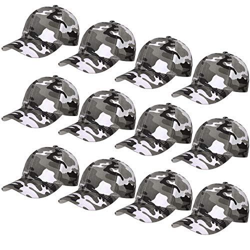 - 12-Pack Bulk Sale Plain Baseball Cap Adjustable Size Solid Color (Grey Camo)
