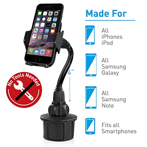 Macally Car Cup Holder Phone Mount with Longer Neck & 360° Rotatable Cradle for iPhone X 8 8 Plus 7 7+ 6s 6 SE, Samsung Galaxy S9 S9+ S8 S7 Edge S6 Note 5, Smartphones, GPS etc. (MCUPXL) by Macally (Image #1)
