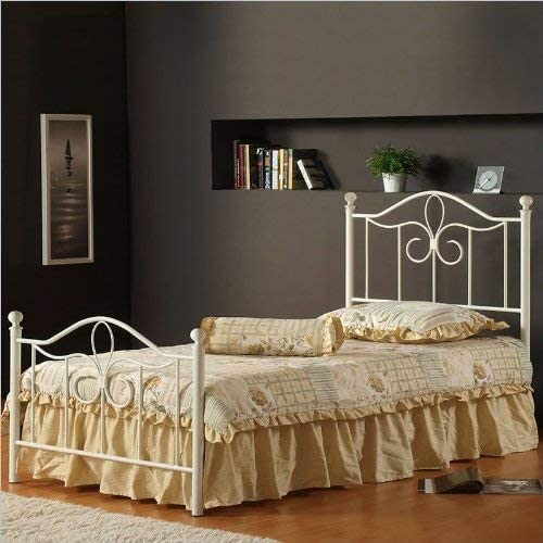Hillsdale Furniture Westfield Metal Bed Set with Rails, Twin, Off White