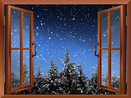 Quiet Christmas Eve with Snow and Pine Trees out of the Window Peel and Stick Removable Window View Wall Sticker Wall Mural