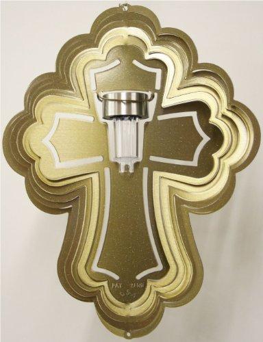 Stainless Steel Solar Light Cross - 16 Inch Wind Spinner, Brass