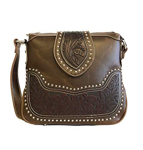 Montana West Ladies Concealed Gun Messenger Purse Tooled Genuine Leather Coffee