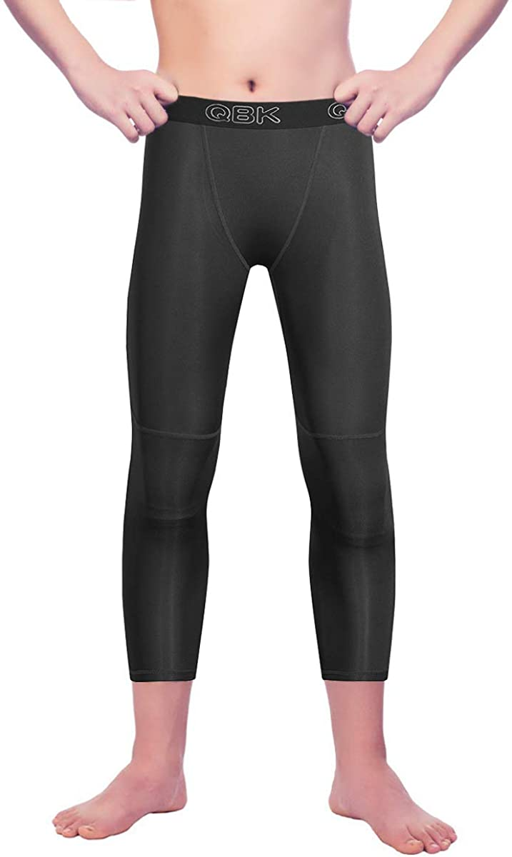 Youth Boys 3/4 Compression Leggings Pants Base Layer with Double Thick Material: Clothing