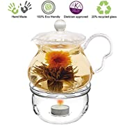 Glass Teapot Friendship series with Tea Warmer Cozy Lead Free Special Glass No Drip by Tea Beyond