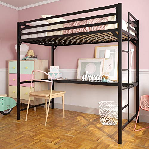 DHP Miles Metal Loft Bed with Desk, Black, Twin