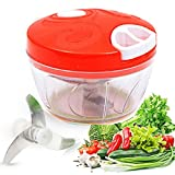 Aibily Manual Food Chopper Easy Pull Food Chopper Hand Held Vegetable Chopper/Mincer/Blender to Chop Fruits/Vegetables/Nuts/Herbs/Onions/Garlics for Onion Salsa/Salad/Pesto/Coleslaw/Puree-RED