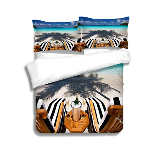 MTSJTliangwan Family Bed recliners with Champagne at a Tropical Caribbean Beach 3 Piece Bedding Set with Pillow Shams, Queen/Full, Dark Orange White Teal ()