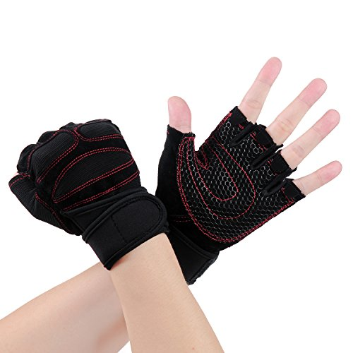 Exercise Gloves - Vitalismo Sport Mitten Gloves for Men Women Kids Fitness Heavy Duty Training Weight Lifting Croffit Palm Workout Half Finger Gym Boxing Gloves with Wrist Support