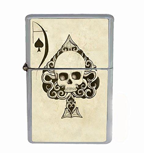 Ace of Spades Skull Flip Top Oil Cigarette Lighter