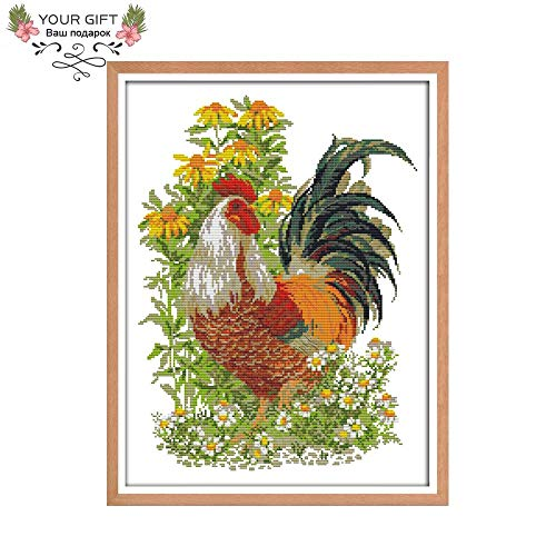 Zamtac DA140 14CT 11CT Counted and Stamped Home Decor Rooster Needlework Needlepoint Embroidery DIY Cross Stitch Kits - (Cross Stitch Fabric CT Number: 11CT Counted - Rooster Needlepoint
