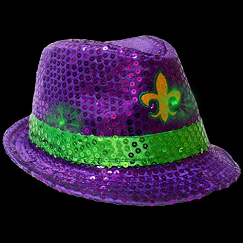 Fun Central AU269, 1 Pc, LED Mardi Gras Sequin Fedora, Mardi Gras Hats for Men, Fedora Hats for Women, Mardi Gras Fedora, Mardi Gras Party - Purple Green Yellow ()