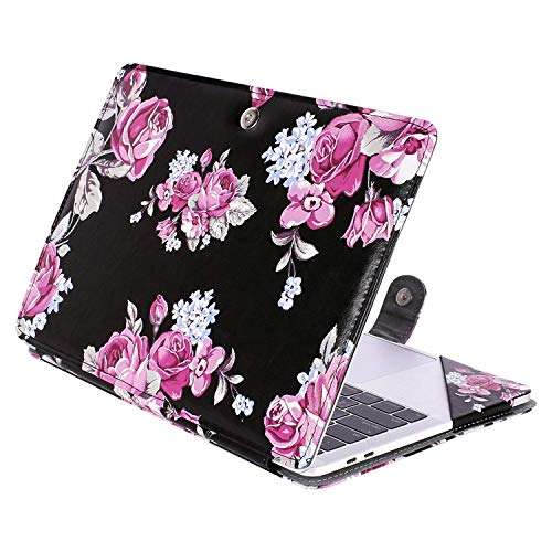 MOSISO PU Leather Case Compatible 2018 MacBook Air 13 A1932 Retina Display / 2018 2017 2016 MacBook Pro 13 A1989/A1706/A1708, Book Folio Protective Cover Stand Sleeve, Peony