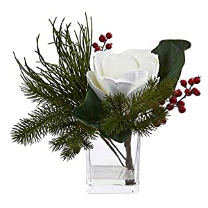 Nearly Natural Magnolia & Berries Artificial Magnolia and Berries Arrangement in Vase White/Green 7