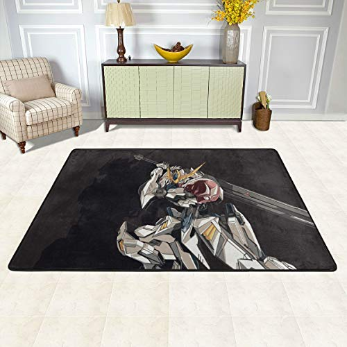 Angela R Mathews Mobile Suit Gundam Seed-Tekkadan Non-Slip Carpet Area Rug Modern Flannel Microfiber Anime/Cartoon Rectangle Carpet Decor Floor Rug Living Room,Bedroom,Study Floor Mat 6' X 4'