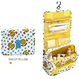 WJkuku Portable Toiletry Travel Organizer Hanging Bag Storage Pouch with Large Capacity (Smiley Yellow)