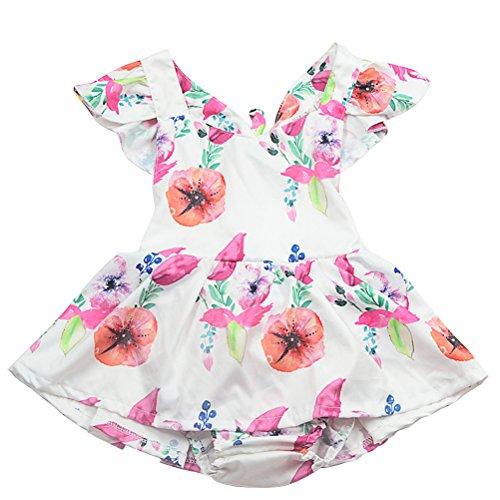 Petite Fille Zhuhaitf Vêtements Dentelle Bodysuit Suspendus Pantalon Triangle Robe Cou Robes D'été Sans Manches Barboteuse Blanc