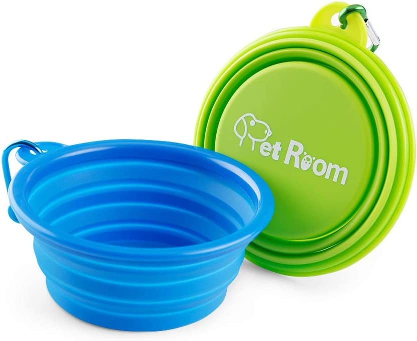 350 ml Foldable silicone dog bowl in blue travel bowl for dogs and cats with carabiner BPA-free