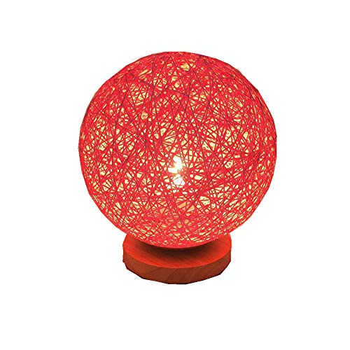 BOKT Minimalist Solid Wood Table Lamp Bedside Desk Lamp Colourful Home Decor Rattan Ball Round Lampshade (Red)