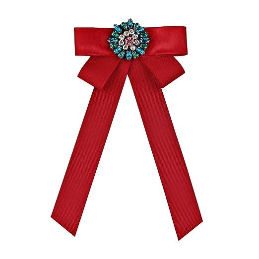 Mujeres Premium Crystal Bow Broche Pre-Tied Corbata Broches Pin ...
