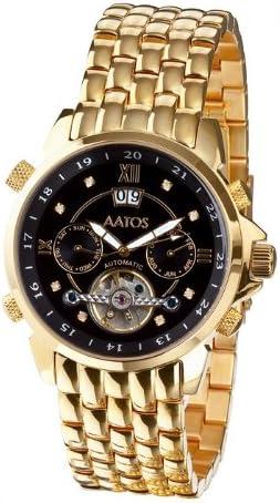 Aatos JaakkoGGBD Montre Bracelet pour Homme Automatique en Acier Inoxydable plaqué Or avec 8 Diamants