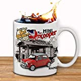 Personalised Red Mini Cooper Classic Car Collector Mug Cup Gift in a Gift Box Add a name by Krafty Gifts