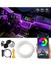 MAODANER Car LED Interior Strip Light, 16 Million Colors 5 in 1 with 236 inches Fiber Optic, Multicolor RGB Sound Active automobile atmosphere Ambient Lighting Kit - Wireless Bluetooth APP Control