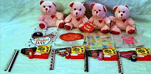 Price comparison product image Valentine's Day Gifts for Kids! 4-Party Packs For Easy Classroom or After School Activity Exchange-Fluffy Teddy Bear with Valentine Themed Pencil, Notepad, and Stamp Activity Set and Much More!