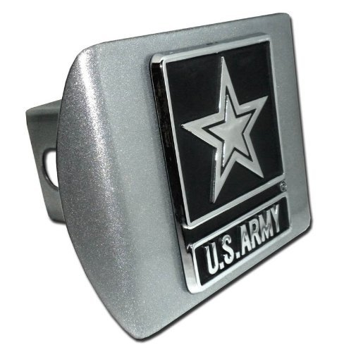 United States Army Star Brushed Silver with Chrome Emblem Metal Trailer Hitch Cover Fits 2 Inch Auto Car Truck Receiver