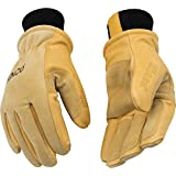 KINCO 901 Men's Pigskin Leather Ski Glove, HeatKeep Thermal Lining, Draylon Thread, Medium, Golden