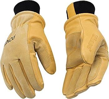 KINCO 901 Men's Pigskin Leather Ski Glove, Heat Keep Thermal Lining, Draylon Thread, Large, Golden