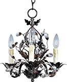 Maxim 2855OI Elegante 3-Light Chandelier Single-Tier Chandelier, Oil Rubbed Bronze Finish, Glass, CA Incandescent Incandescent Bulb , 60W Max., Wet Safety Rating, Standard Dimmable, Glass Shade Material, 672 Rated Lumens