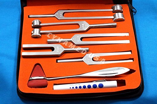 New Premium Grade Tuning Fork Set of 7 C128 C256 C512 C1024 and C2048 Plus Taylor Hammer and Pen Light Complete Diagnostic Set All in One